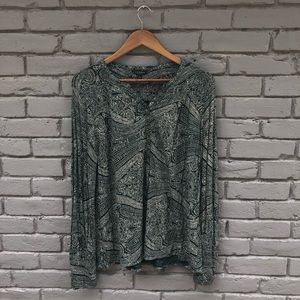 Lucky Brand Forest Green Paisley Blouse sz L